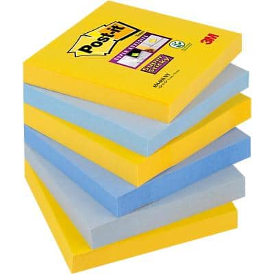 Post-it Super Sticky Haftnotizen 76 x 76 mm New York Collection Farbig sortiert 6 Blöcke à 90 Blatt
