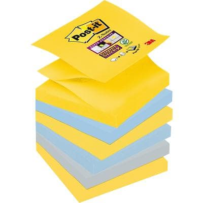 Post-it Super Sticky Z-Notes Haftnotizen 76 x 76 mm New York Collection Farbig sortiert 6 Blöcke à 90 Blatt