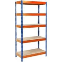 Office Marshal Metallregal Grizzly Blau, Orange 5 Fächer 2.200 x 1.200 x 450 mm