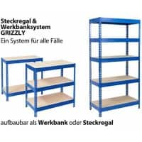 Office Marshal Steckregal Grizzly Blau 5 Fächer 2.200 x 900 x 450 mm