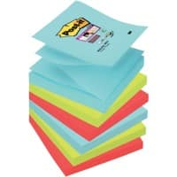 Post-it Super Sticky Z-Notes Haftnotizen 76 x 76 mm Miami Collection Farbig sortiert 6 Blöcke à 90 Blatt