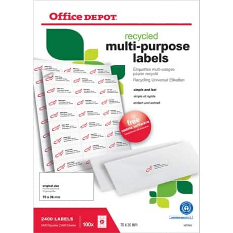 Office Depot Recycling Universaletiketten 2400 Stück