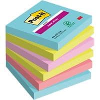 Post-it Super Sticky Haftnotizen 76 x 76 mm Miami Collection Farbig sortiert 6 Blöcke à 90 Blatt