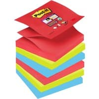 Post-it Super Sticky Z Notes Haftnotizen 76 x 76 mm Bora Bora Collection Farbig sortiert 6 Blöcke à 90 Blatt