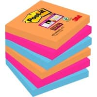 Post-it Super Sticky Haftnotizen 76 x 76 mm Bangkok Collection Farbig sortiert 6 Blöcke à 90 Blatt