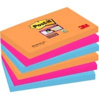 Post-it Super Sticky Haftnotizen 127 x 76 mm Bangkok Collection Farbig sortiert 6 Blöcke à 90 Blatt