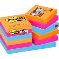 Post-it Super Sticky Haftnotizen 48 x 48 mm Bangkok Collection Farbig sortiert 12 Blöcke à 90 Blatt