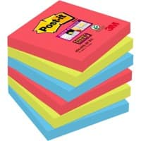 Post-it Super Sticky Haftnotizen 76 x 76 mm Bora Bora Collection Farbig sortiert 6 Blöcke à 90 Blatt
