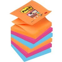 Post-it Z-Super Sticky Haftnotizen 76 x 76 mm Bangkok Collection Farbig sortiert 6 Blöcke à 90 Blatt