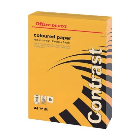 Office Depot Contrast Kopierpapier DIN A4 160 g/m² Intensiv Orange 250 Blatt