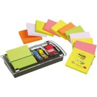 Post-it Sticky Z Note Dispenser Z-Notes Schwarz, Transparent Blanko 76 x 76 mm 70 g/m² 100 Blatt