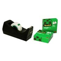 Scotch Tischabroller C38 Schwarz + 3 Rollen Scotch Magic 810 Klebeband 19 mm x 33 m Matt Unsichtbar