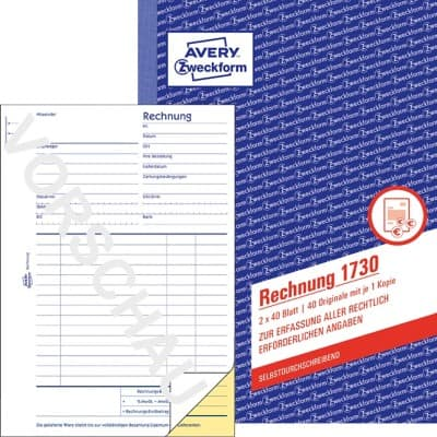 Avery Zweckform Rechnungsblock 1730 Din A5 Mikroperforation 40 Blatt