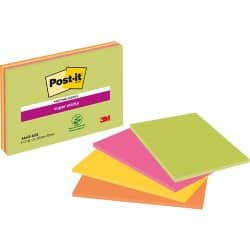 Post-it Meeting Notes Super Sticky Farbig sortiert Blanko 152 x 101 mm 4 Stück à 45 Blatt