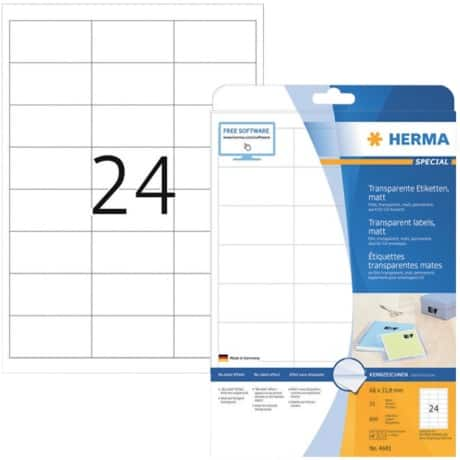 HERMA Folien-Etiketten Transparent DIN A4 Folie 66 x 33,8 mm