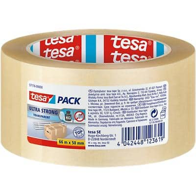 tesapack Verpackungsklebeband 4124 Ultra Strong 50 mm x 66 m Transparent