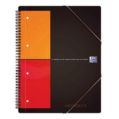 OXFORD Spiral-Meetingbook International Grau Kariert 4-Fach DIN A4+ 210 x 297 mm