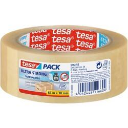 tesapack Verpackungsklebeband Ultra Strong 38 mm x 66 m Transparent