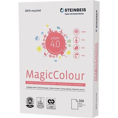 Steinbeis Magic Colour Recycling Kopier-/ Druckerpapier DIN A4 Weiß 80 g/m² Pastell Blau 500 Blatt