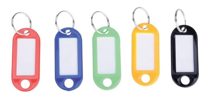 Büro:50 Kunststoff-Schlüsselanhänger mit S-Haken farbig sortiert mit Rechnung