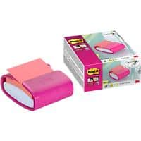 Post-it Z Note HafnotizspenderPRO Fushi Colour mit Super Sticky Z-Notes Pink 90 Blatt
