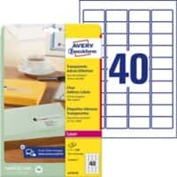 AVERY Zweckform L4770-25 Adressetiketten 45,7 x 25,4 mm Transparent 45,7 x 25,4 mm 40 Blatt à 25 Etiketten