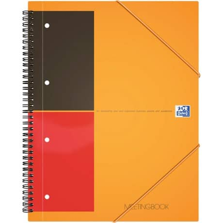 OXFORD Spiral-Meetingbuch International Orange Liniert 4-Fach DIN A4+ 210 x 297 mm