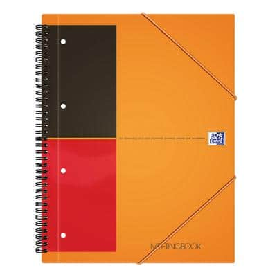 OXFORD Spiral-Meetingbuch International Orange Liniert 4-Fach DIN A5+ 148 x 210 mm