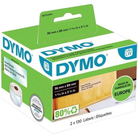 DYMO Adress-Etiketten 89 mm x 36 mm Transparent