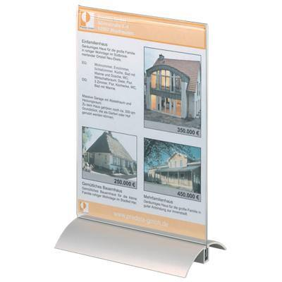 DURABLE Tischaufsteller 8588-19 DIN A5 Transparent Acryl, Aluminium 15 x 8,5 x 23,7 cm