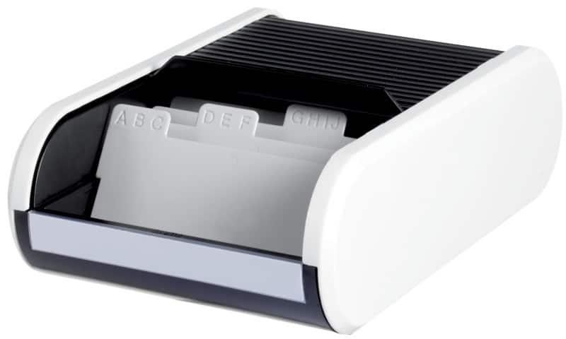Helit Visitenkartenbox Din A8 300 Karten Weiß Schwarz 13 6 X 24 2 X 6 7 Cm