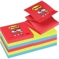 Post-it Super Sticky Z Notes 76 x 76 mm Bora Bora Collection Farbig sortiert 12 Blöcke à 90 Blatt