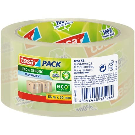 tesapack Paketband Eco & Strong 50 mm x 66 m Transparent
