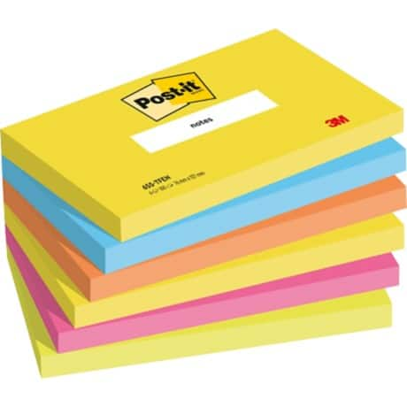 Post-it Haftnotizen Active Collection Farbig sortiert Blanko 76 x 127 mm 70 g/m² 6 Stück à 100 Blatt