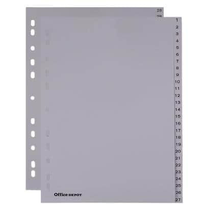 Office Depot Register DIN A4 Grau 54-teilig 11-fach Polypropylen 1 bis 54