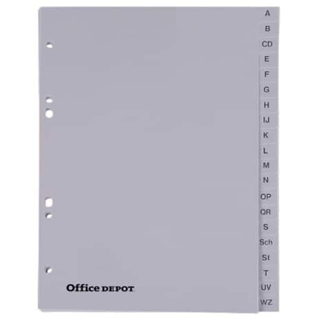 Office Depot Register DIN A5 Grau 24-teilig 6-fach Polypropylen A - Z