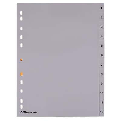 Office Depot Register Numerical DIN A4 Grau 12-teilig Perforiert Polypropylen 1 bis 12