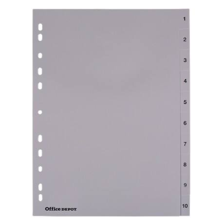 Office Depot Register DIN A4 Grau 10-teilig 11-fach Polypropylen 1 bis 10