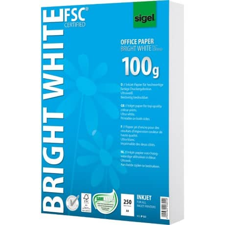 Sigel InkJet-Papier Bright White/IP125, A4, ultraweiß, 100 g/m², Inhalt 250 Blatt