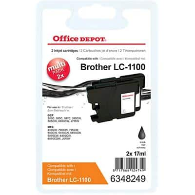 Kompatible Office Depot Brother LC1100BK Tintenpatrone Schwarz 2 Stück