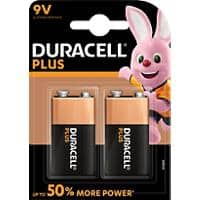 Duracell 9 V Alkali-Batterien Plus Power MN1604 6LR61 9 V 2 Stück