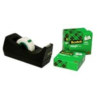 Scotch Tischabroller C38 Schwarz + 4 Rollen Scotch Magic Klebeband 810 Unsichtbar Matt 19 mm x 33 m