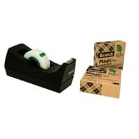 Scotch Tischabroller C38 Schwarz + 3 Rollen Scotch Magic A Greener Choice Klebeband 19 mm x 33 m Matt Unsichtbar