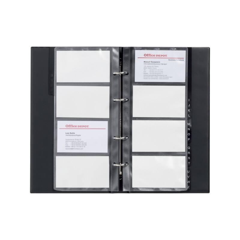Office Depot Visitenkartenbuch Din A4 96 Karten Schwarz 14 5 X 0 3 X 25 5 Cm