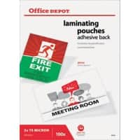 Office Depot Laminierfolien 2 x 75 (150) µm Transparent 100 Stück