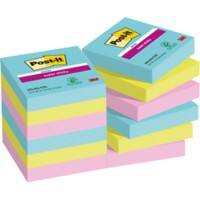 Post-it Super Sticky Haftnotizen 48 x 48 mm Miami Collection Farbig sortiert 12 Blöcke à 90 Blatt