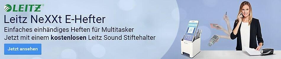 Leitz NeXXt E-Hefter - Einfaches einhändiges Heften für Multitasker - Jetzt mit einem kostenlosen Leitz Sound Stiftehalter