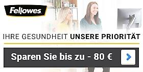 Bis zu -80 €  Auf ausgewählte Fellowes Ergonomie-Produkte